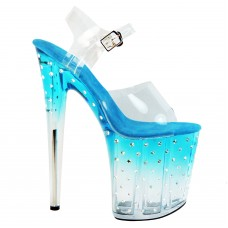 Lap dance sandals pole dance shoes show strass clear high heel ankle strap
