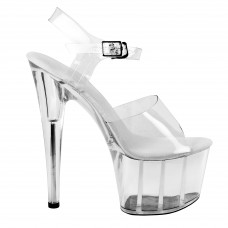 Lap dance sandals pole dance shoes show clear high heel and wedge with ankle strap