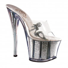 Lap dance sandals pole dance shoes show clear and silver glitter high heel